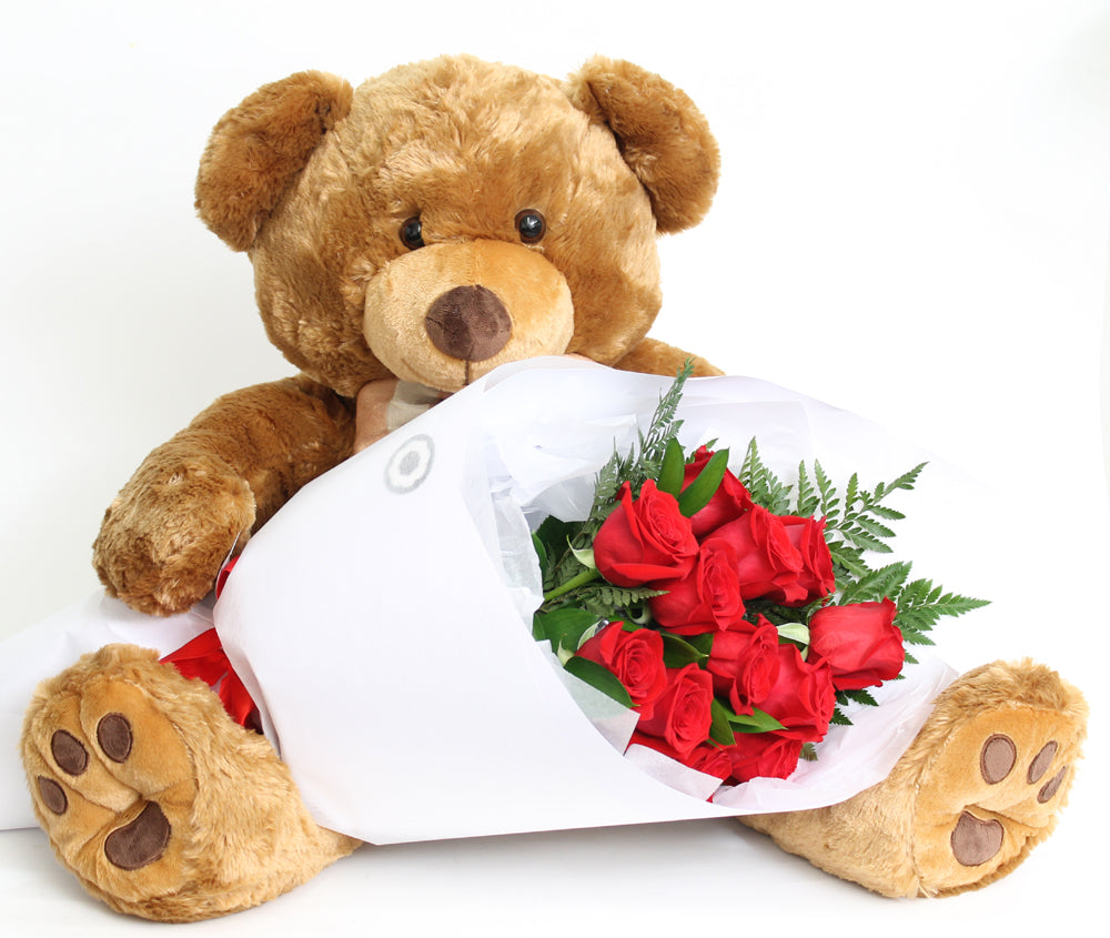 HANDSOME BROWN BEAR WITH A DOZEN RED ROSES