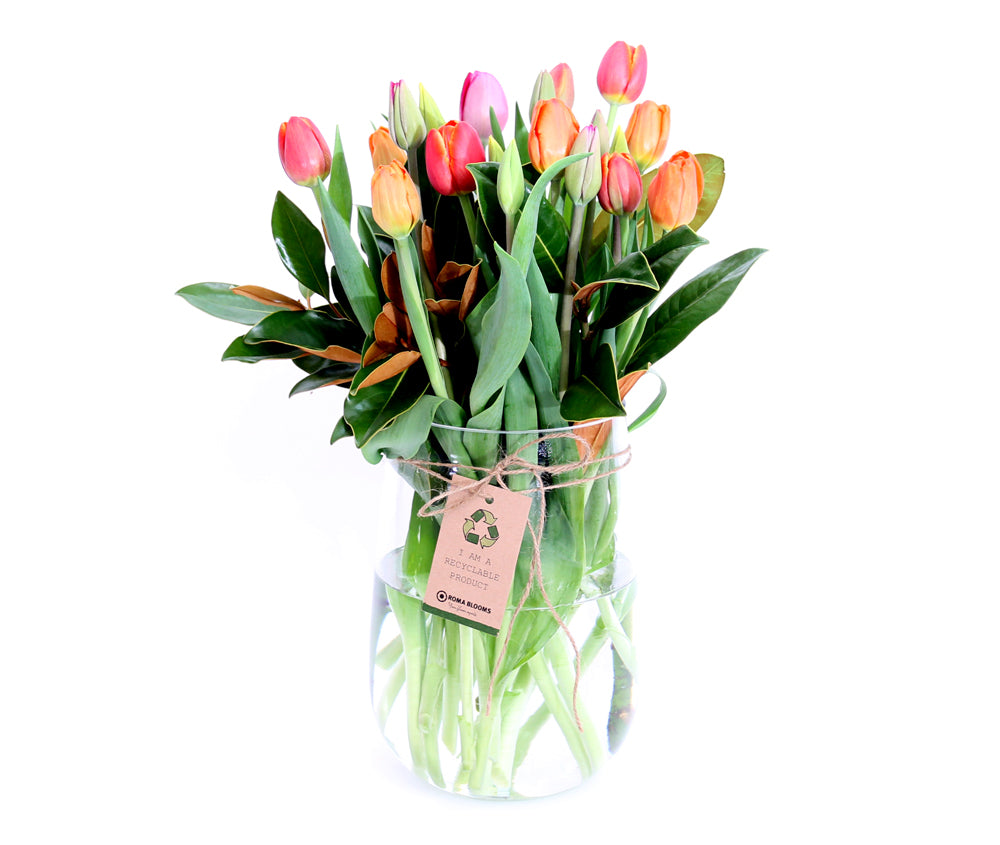 BRIGHT MIXED TULIPS IN VASE
