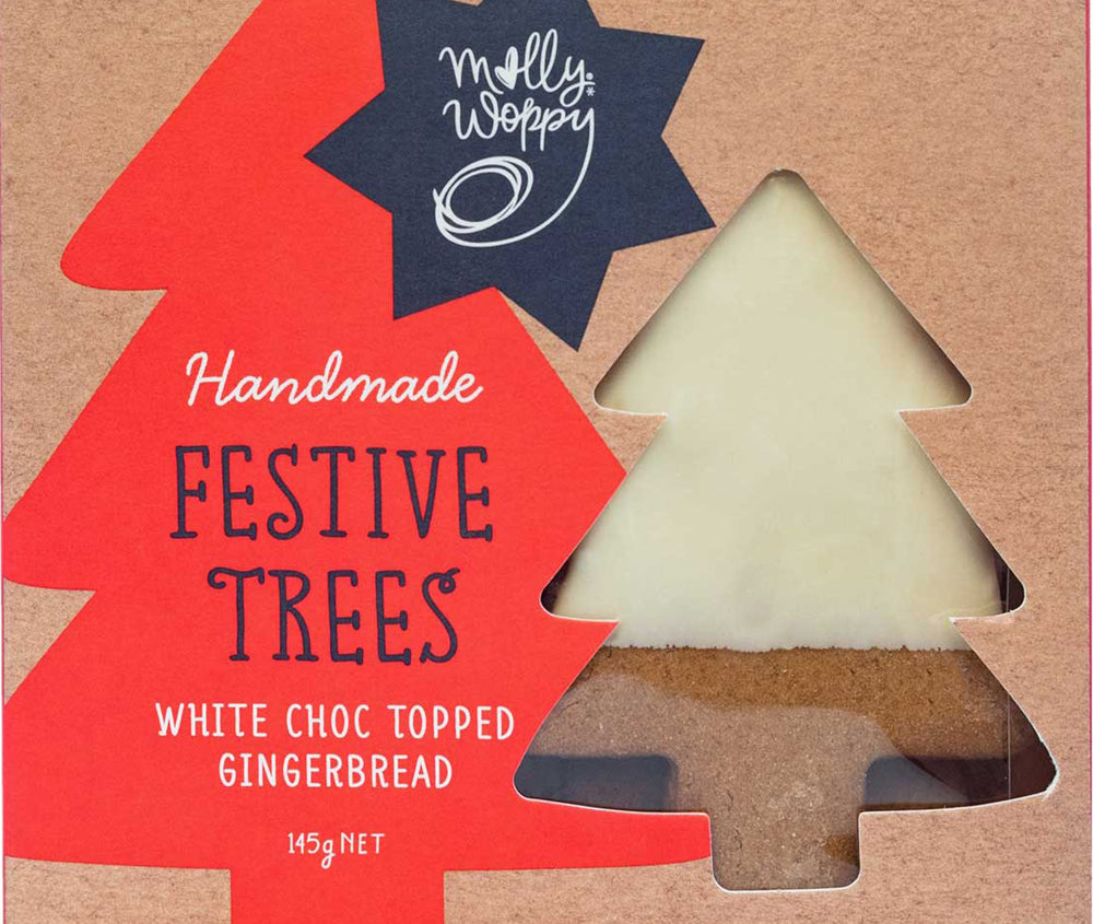 CHRISTMAS TREES WHITE CHOC TOPPED GINGERBREAD