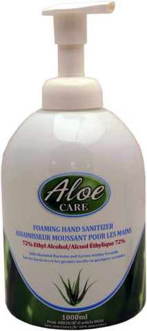 ALOE CARE Foam Hand sanitizer 1L pump bottle .