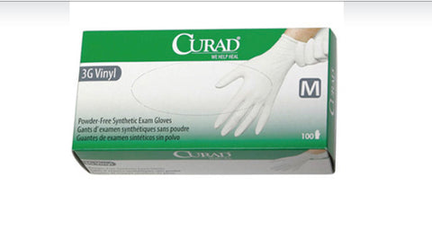 Curad 3G Stretch PF Vinyl Exam Gloves 150 pcs/box