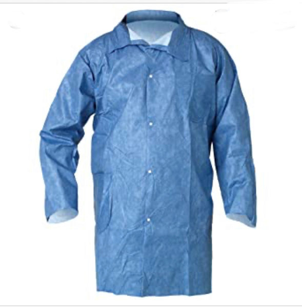 ASTM F1679/F1671 Chemical Resistant Coat Heavy Duty Blue 10pcs/pack (OSFM)