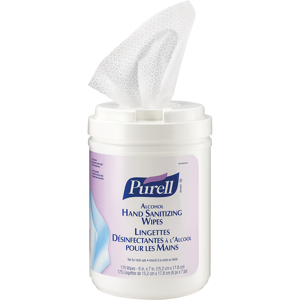 Purell Alcohol Hand Sanitizing Wipes 175 count 6 Cans/box
