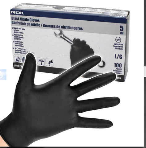 Nitrile Gloves Black 5 MIL Black 100pcs/box.