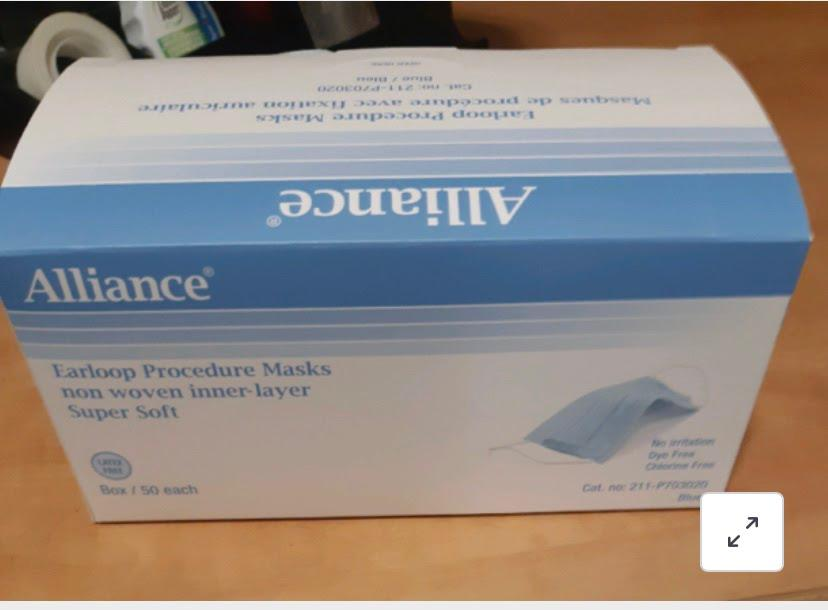 Alliance Medical/Procedure 3 ply masks 50pcs/box.