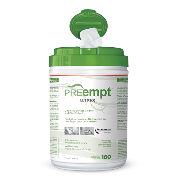 PREempt Disinfectant Surfaces Wipes 160 sheets 6cans/box