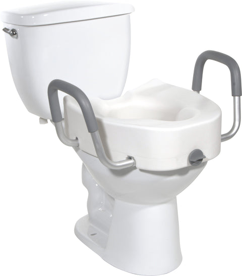 "Raised Toilet Seat Elongated With Removable Arms, Lock & 5"" Height"
