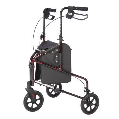 3 Wheel Walker with Tote Bag - Red