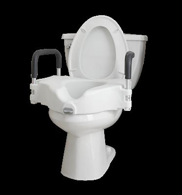 Locking Raised Toilet Seat with Removable Arms