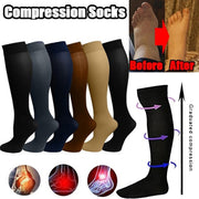 1Pair Unisex Leg Support Stretch Compression Socks Knee High/Long Gradient Socks Outdoor Sport Pure Color Long Socks