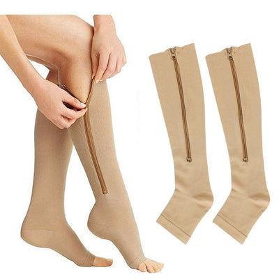 High Elastic Unisex Long Zip Stockings