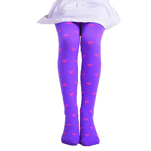 ARLONEET Cute Lovely Child Girls Footed Heart Dots Tights Stockings Ballet Candy Colorful  Opaque Velvet Stocking Pantyhose