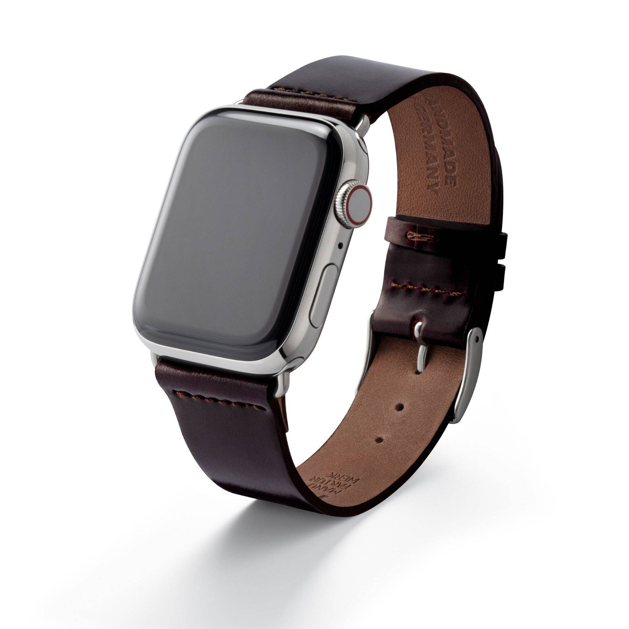 "Lederarmband für Apple Watch ""EPPENDORF"" (SHELL CORDOVAN) - BORDEAUX - MANUFAKTURWERK"