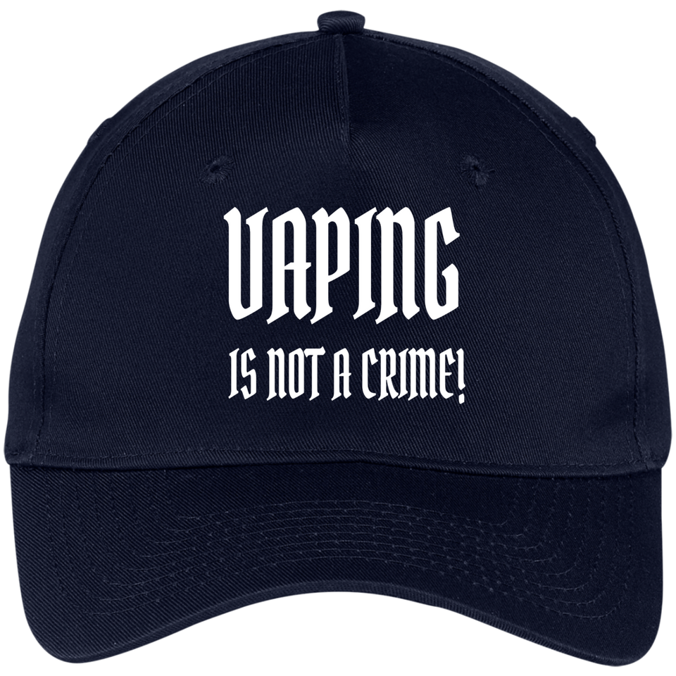 Vaping Is Not A Crime White Five Panel Twill Cap