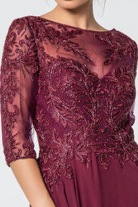 Anita Mothers Dress Burgundy Embroidered Half Sleeve Beaded Top G2524THR-Burgundy SAMPLE IN STORE