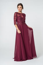 Load image into Gallery viewer, Anita Mothers Dress Burgundy Embroidered Half Sleeve Beaded Top G2524THR-Burgundy SAMPLE IN STORE