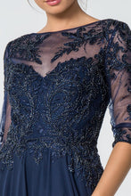 Load image into Gallery viewer, Anita Mothers Dress Navy Embroidered Half Sleeve Beaded Top G2524THR-Navy