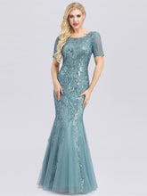 Load image into Gallery viewer, Anna Formal Dress Embroidery and Sequin embellished Mermaid Gown E7705HW-Seafoam SAMPLE IN STORE