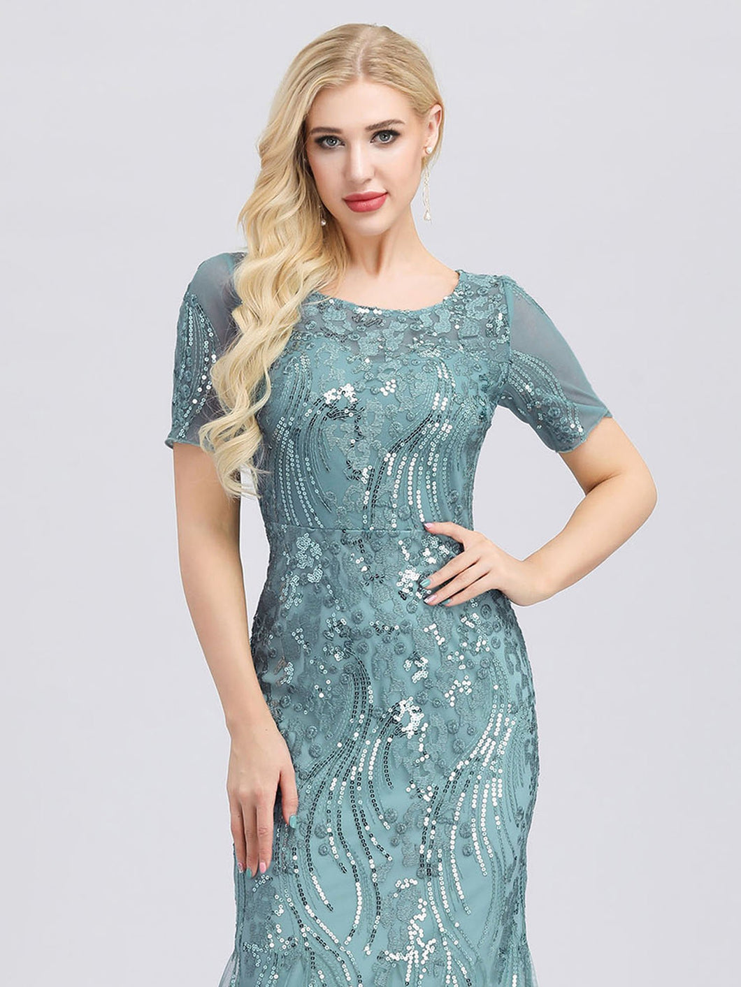 Anna Formal Dress Embroidery and Sequin embellished Mermaid Gown E7705HW-Seafoam SAMPLE IN STORE