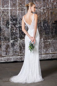 Astrid Wedding Dress Fully Beaded V Neckline Fitted Gown C202HRR  SAMPLE IN STORE