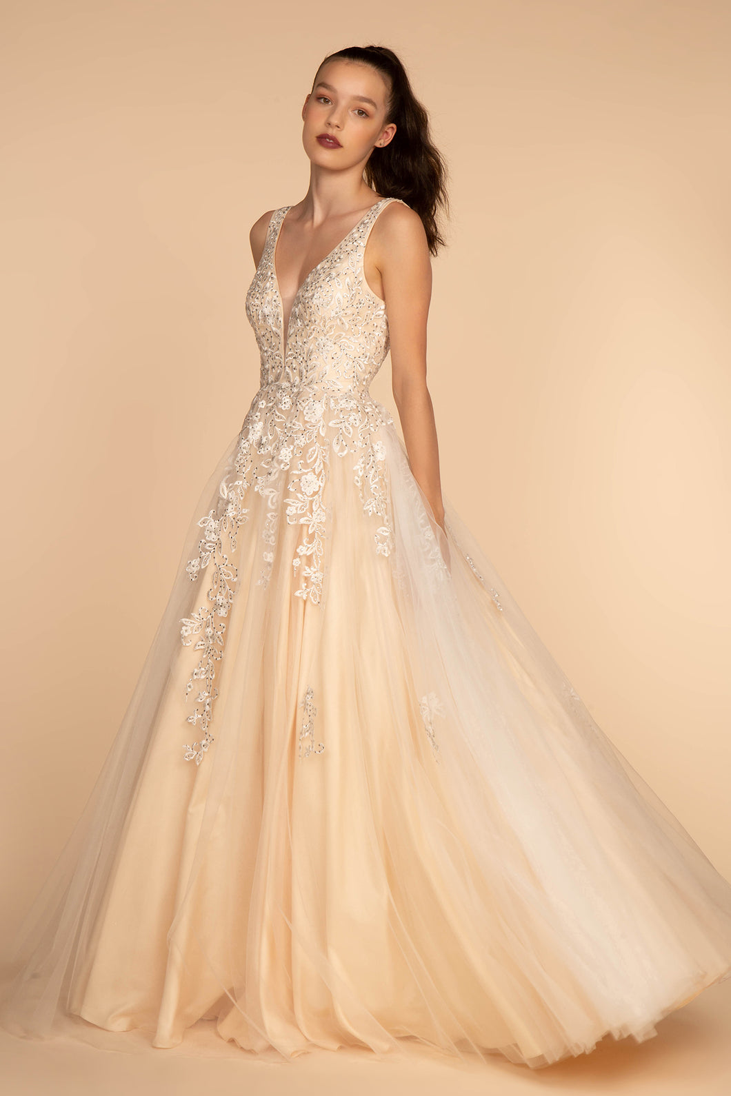 Audra Wedding Dress in Champagne Floral Lace Top with Tulle Ballgown Skirt G2529TNR  SAMPLE IN STORE