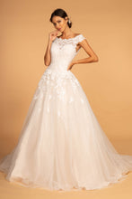 Load image into Gallery viewer, Avery White Wedding Dress Short Sleeve Full Skirt Bridal Gown G2596HKR-White SAMPLE IN STORE