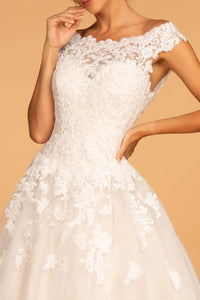 Avery White Wedding Dress Short Sleeve Full Skirt Bridal Gown G2596HKR-White SAMPLE IN STORE