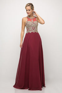 Bette Gown Halter Neckline with Beaded Lace C120NX-Burgundy/Gold SAMPLE IN STORE