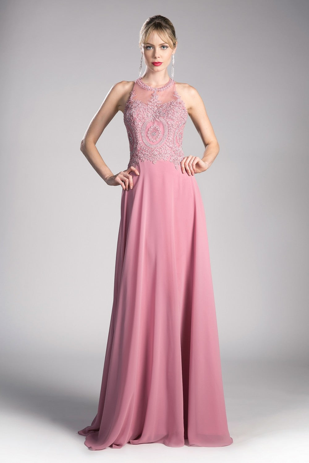 Bette Gown Halter Neckline with Beaded Lace C120NX-Rose SAMPLE IN STORE