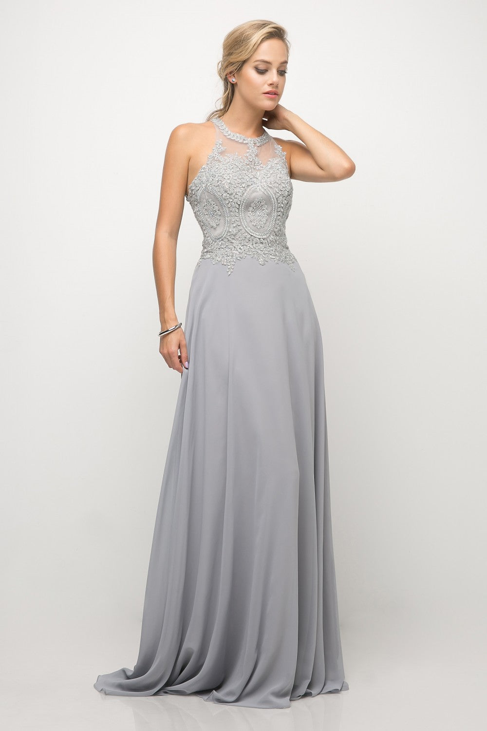 Bette Gown Halter Neckline with Beaded Lace C120NX-Silver SAMPLE IN STORE