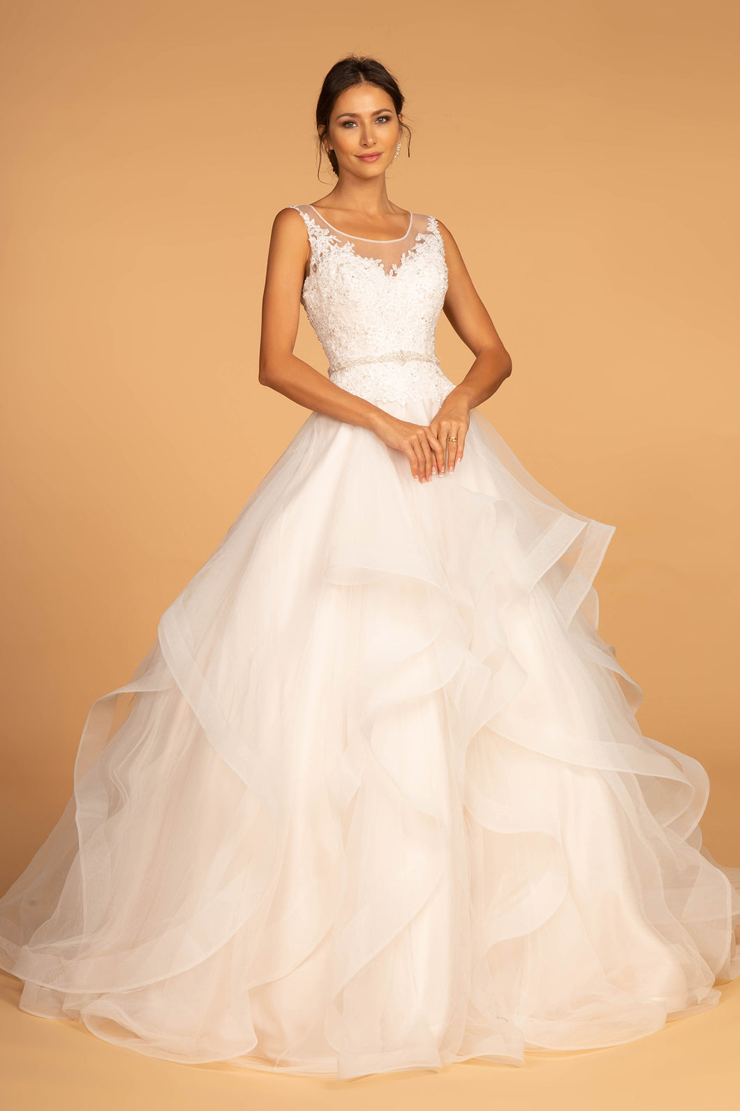 Bonnie Wedding Dress Scoop Neckline with Multi-Layer Skirt G2599HKR-Ivory/champagne