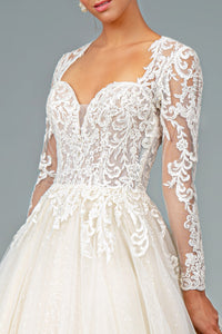 Camille Wedding Dress Long Sleeve Sweetheart Neckline Bridal Gown G1804HER-Ivory SAMPLE IN STORE