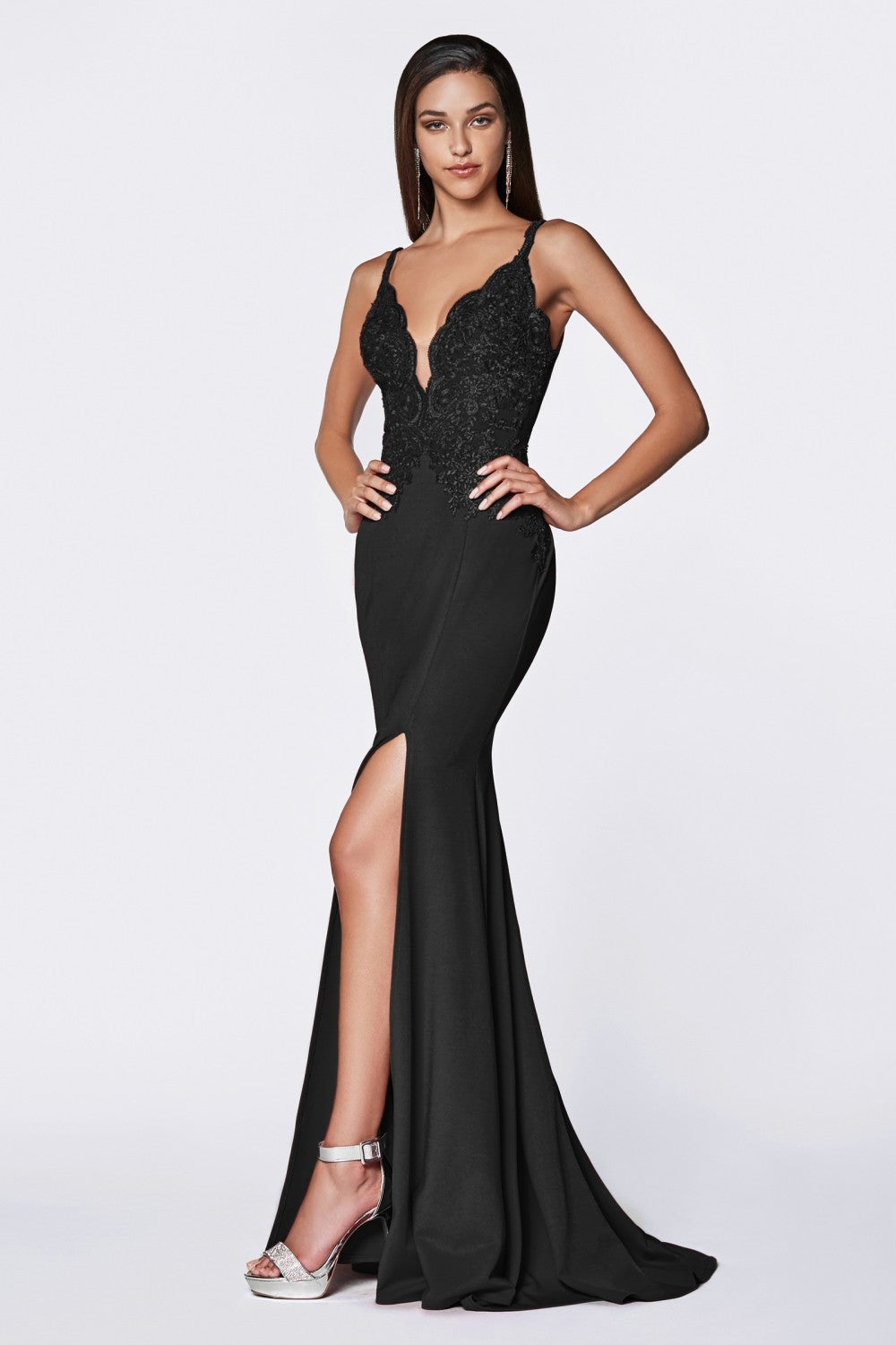 Candace Bridesmaid Dress Lace Top Flared Bottom in Black C319WR SAMPLE IN STORE
