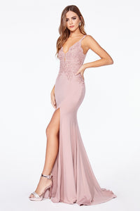 Candace Bridesmaid Dress Lace Top Flared Bottom in Dusty Rose  C319WR SAMPLE IN STORE