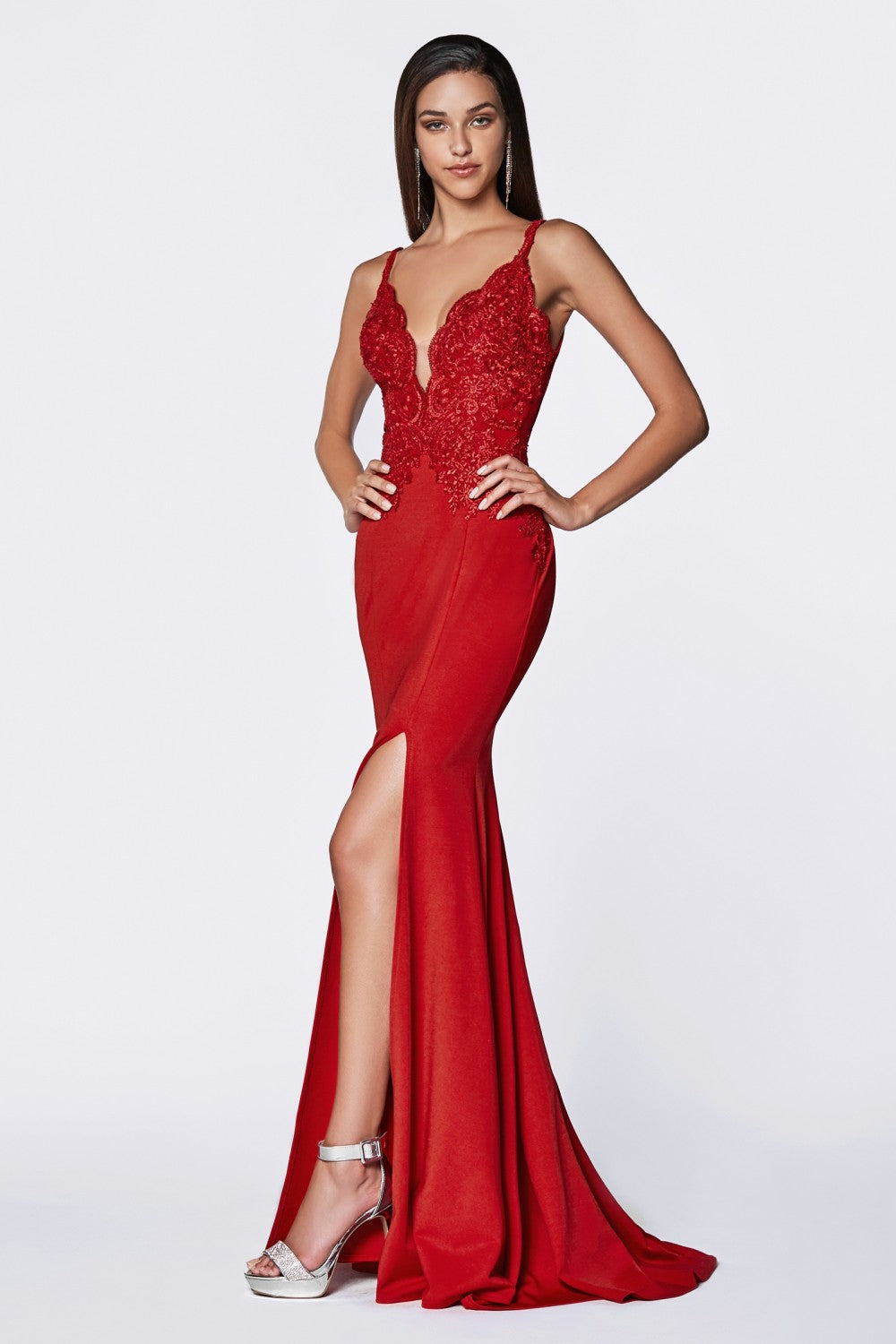 Candace Bridesmaid Dress Lace Top Flared Bottom in Red  C319WR SAMPLE IN STORE