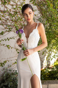 Candace Wedding Dress with Scalloped Straps C319-WK-OffWhite Sample in Store