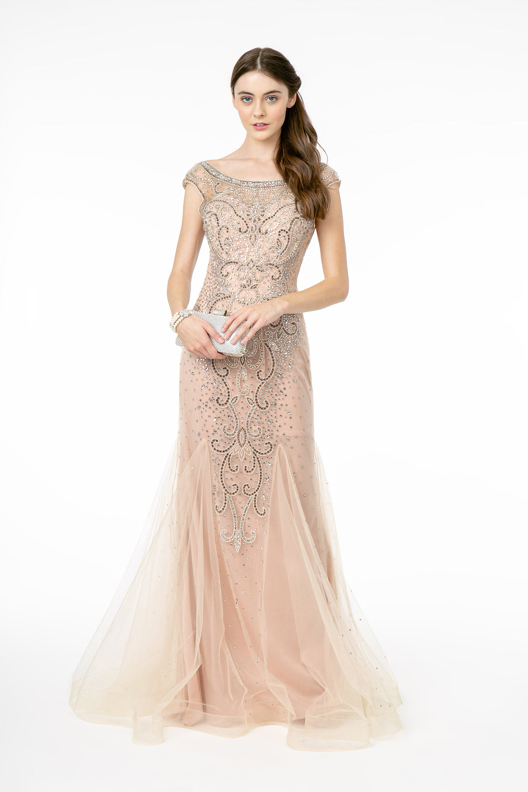 Catalina Wedding Dress Blush Flared Hem Art Deco Style Gown G2945TIR-Blush    SAMPLE IN STORE