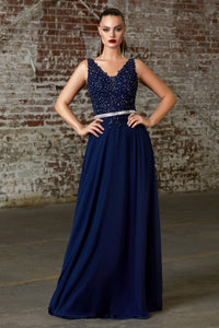 Chantal Bridesmaid Dress in Navy Sleeveless Lace Top with Jeweled Belt C9173KR-Navy   SAMPLE IN STORE