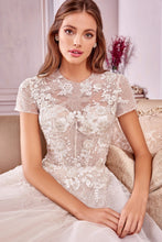 Load image into Gallery viewer, Crina Marie Wedding Dress Corset Bodice Short Sleeve Bridal Gown AL1025HIR-Cream
