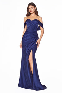 Dawn Off the Shoulder Bridesmaid with Skirt Slit in CKV1050WR-Navy SAMPLE IN STORE