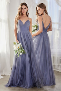 Dahlia Bridesmaid Dress Full Tulle Skirt in Paris Blue C184KR-ParisBlue   SAMPLE IN STORE