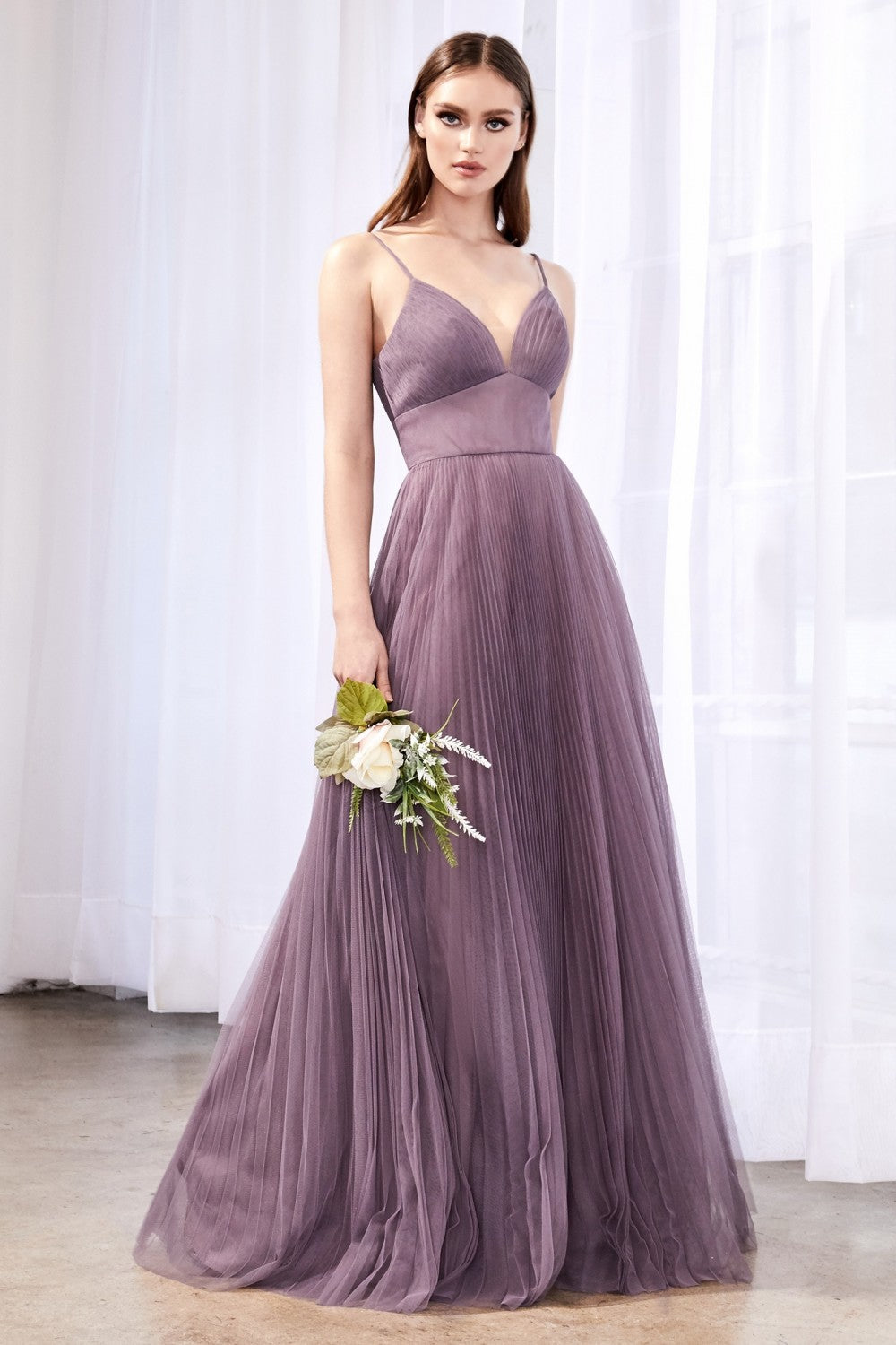 Dahlia Bridesmaid Dress Full Tulle Skirt in French Lilac C184KR-FrenchLilac  SAMPLE IN STORE