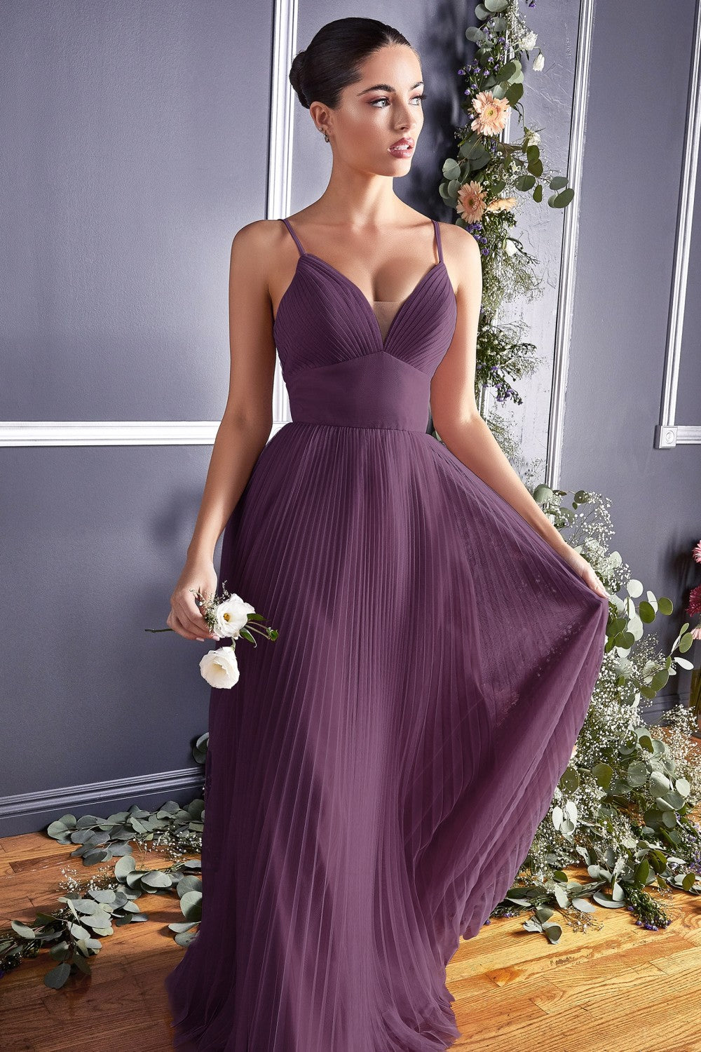 Dahlia Bridesmaid Dress Full Tulle Skirt in Eggplant  C184KR-Eggplant   SAMPLE IN STORE