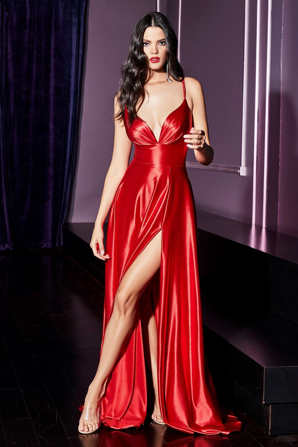 Darla Bridesmaid Satin Gown with Front Leg Slit in Red  C903KR-Red