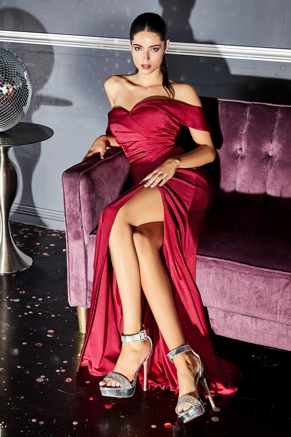 Dawn Off the Shoulder Bridesmaid with Skirt Slit in Burgundy CKV1050WR-Burgundy SAMPLE IN STORE