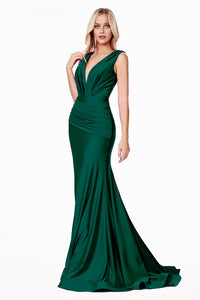 Denise Bridesmaid Dress in Emerald Sleeveless Gown with Train C912WR-Emerald SAMPLE IN STORE
