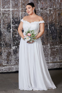 Dina Wedding Dress Off the Shoulder with Chiffon Skirt C7258KR-White   SAMPLE IN STORE