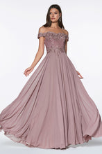 Load image into Gallery viewer, Dina Bridesmaid Dress in Mauve Off the Shoulder Chiffon Skirt C7258KR-Mauve   SAMPLE IN STORE in white