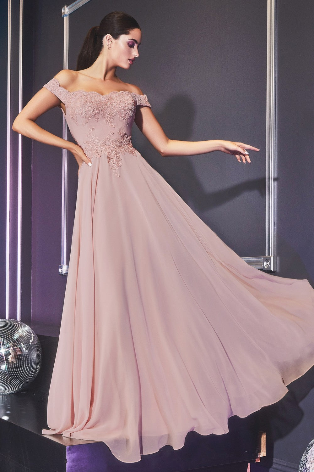 Dina Bridesmaid Dress in Mauve Off the Shoulder Chiffon Skirt C7258KR-Mauve   SAMPLE IN STORE in white
