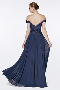 Dina Bridesmaid Dress in Navy Off the Shoulder Chiffon Skirt C7258KR-Navy  SAMPLE IN STORE in white